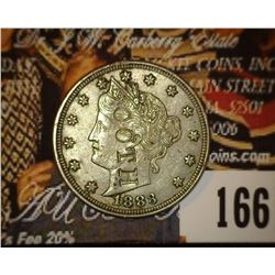 """1883 With Cents Liberty Nickel. AU. Counterstamped """"Booth"""" on the obverse."""