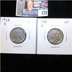 1928 S VF & 30 S VF Buffalo Nickels.