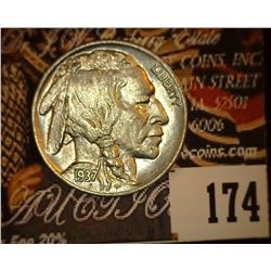 1937 P Buffalo Nickel, Brilliant Uncirculated.