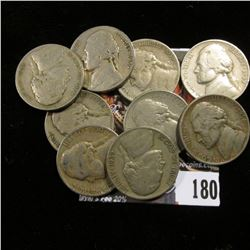 Jefferson Nickels Circulated: 1938 D, 39 D, (3) 38S, (3) 39S, & a 1950 D. All grade VG-EF. (9 coins)
