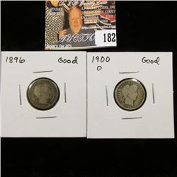 1896 P Good & 1900 O Good U.S. Barber Dimes.