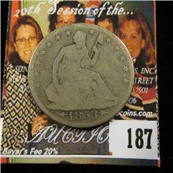 1853 O With Arrows U.S. Seated Liberty Half Dollar, Good+.