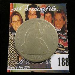 1868 P U.S. Seated Liberty Half Dollar, Good.