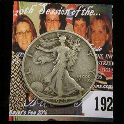 1920 P U.S. Walking Liberty Half Dollar, Fine.