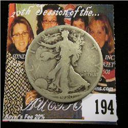 1920 D U.S. Walking Liberty Half Dollar, Good+.