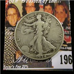 1934 S U.S. Walking Liberty Half Dollar, Fine.