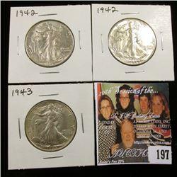 (2) 1942 P & 43 U.S. Walking Liberty Half Dollar, EF-AU.