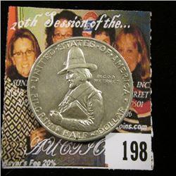 1920 D Pilgrim Commemorative Half Dollar, AU.