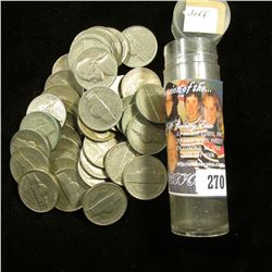 Roll of Jefferson Nickels with all dates more than fifty years old.
