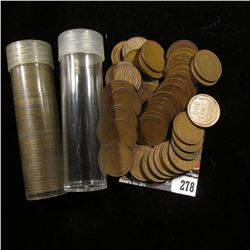 1929 & 1934 Solid Date Rolls of U.S. Lincoln Cents in a pair of plastic tubes.