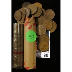 1924 & 1937 Solid Date Rolls of U.S. Lincoln Cents in a pair of plastic tubes.