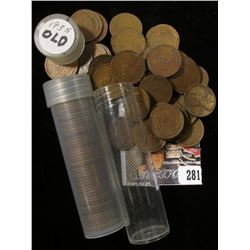 1926 & 1935 Mixed mint mark Solid Date Rolls of U.S. Lincoln Cents in a pair of plastic tubes.