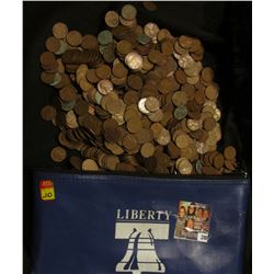 "(1,121) Unsorted  for date U.S. Wheat Cents, circulated, in a ""Liberty"" Zippered Money Pouch."