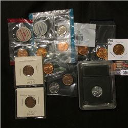 1955 S BU Lincoln Cent in Littleton Coin holder; (2) Carded Wheat Cents; 1939 Cent in pendant; 1943