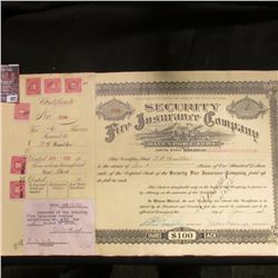 """1928 Six Shares valued at $100 each """"Security Fire Insurance Company Davenport, Iowa"""" Certificate wi"""