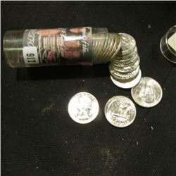 39 pc. Roll of 1960 D Washington Quarters, Brilliant Uncirculated. Stored in a plastic tube.