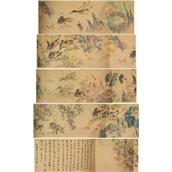 Liang Qi Chinese Watercolour on Long Hand Scroll