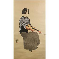 He Jiaying b.1957 Chinese Watercolour Paper Roll