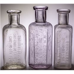 Carson City & Virginia City, Nevada Drug Store Bottle Trio: Chedic, Thaxter, and Lernhart