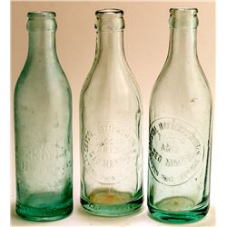 Three Crown Top Crystal Soda Bottles (Tucson, Arizona)