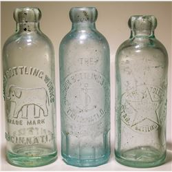 Three pictorial Ohio Hutch soda bottles