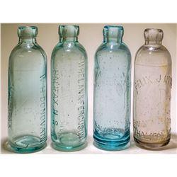 Four different Nova Scotia Hutch soda bottles