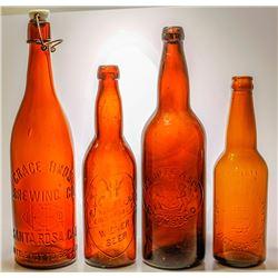 Four American Embossed Beer Bottles