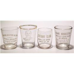 Four Vintage Whiskey Shot Glasses