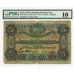 "Hong Kong & Shanghai Banking Corp. (HSBC) with US Navy ""U.S.S. Black Hawk"" Handstamp, 1923, Issued B"