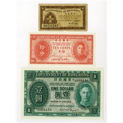 Government of Hong Kong, 1941-1949, Trio of Issued Notes
