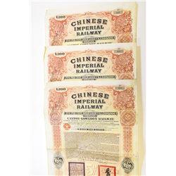 Chinese Imperial Railway 1907 Canton-Kowloon Railway Bond Trio.