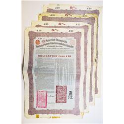 Kaiserlich Chinesische Tientsin-Pukow-Staatseisenbahn-Anleihe 1908 Issued Bond Quartet
