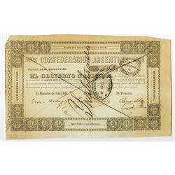 Custom Bonds - Gobierno Nacional - Contrato de Mayo de 1859 Issue Banknote.
