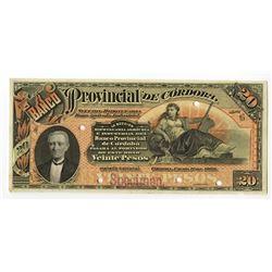 Banco Provincial de Cordoba, 1889 Specimen Banknote.