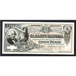 Banco Nacional. 1888 Specimen Issue.