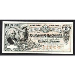 Banco Nacional. 1888 Specimen Issue.