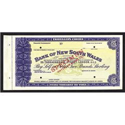 Bank of New South Wales Waterlow Specimen Traveler's  Cheque. CA 1900.