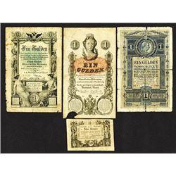 K.K. Hauptmunzamt Munzscheine. 1860 Issue, K.K. Staats Central or Reichs Central Cassa Issues and an