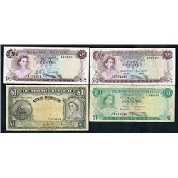 Bahamas Government & Monetary Authority, 1953-68, Quartet of Issued Notes