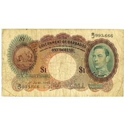 Government of Barbados, 1943 Issue Banknote.