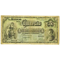 Banco Comercio, 1900 Issued Banknote.
