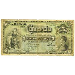 Banco Comercio, 1900 Issued Banknote.