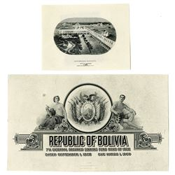 Republic of Bolivia & Banco Mercantil, ca. 1906-1928, Pair of Proofs