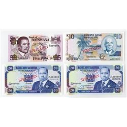 Bank of Botswana, Reserve Bank of Malawi, Central Bank of Kenya. 1992. Quartet of Specimens.