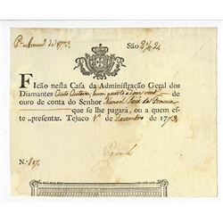 Royal Diamond Administration, 1773 Issue Banknote.