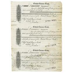 British Guiana Bank, ND ca.1850-60's Uncut Sheet of 3 Proof Exchanges