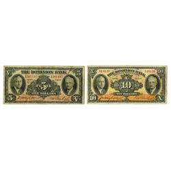 Dominion Bank, 1935, Pair of Issued Notes