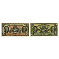 Dominion Bank, 1938, Pair of Issued Notes