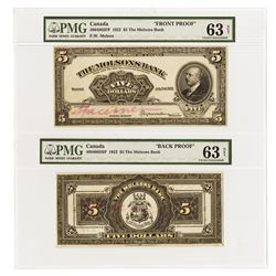 Molson's Bank, 1922 Face and Back Proofs.
