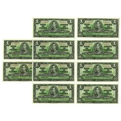 Bank of Canada, 1937, $1 Sequential Group of 10 notes, all Uncirculated.